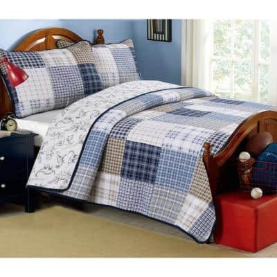 Plaid Tartan Boxers Dinosaur 3-Piece Navy Blue Tan Khaki Cotton Queen Quilt Bedding Set