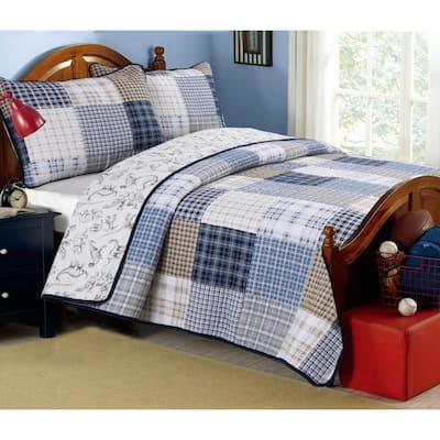 Plaid Tartan Boxers Dinosaur 2-Piece Navy Blue Tan Khaki Cotton Twin Quilt Bedding Set