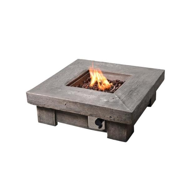 Peaktop 35 In Outdoor Square Light Weight Ceramic Propane Gas Fire Pit Hf11501aa The Home Depot