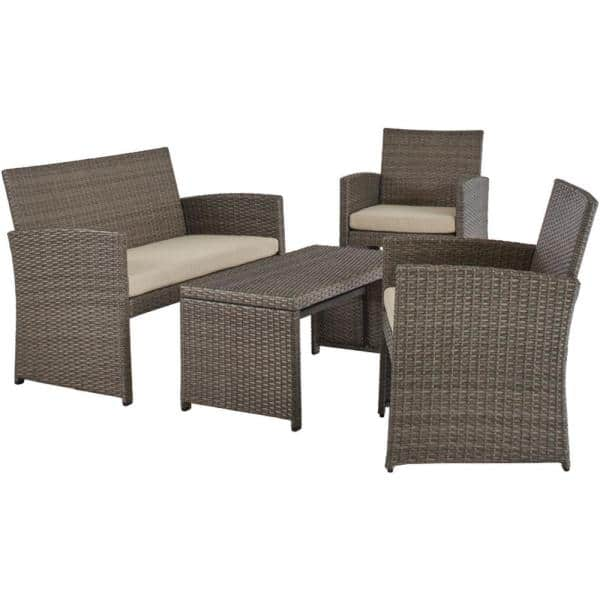 Stylewell Park Trail Grey 4 Piece Wicker Patio Conversation Set With Light Brown Cushions 16121601 The Home Depot