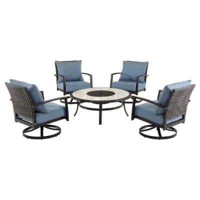 Whitfield 5-Piece Dark Brown Metal Outdoor Patio Round Fire Pit Seating Set w/ CushionGuard Steel Blue Cushions