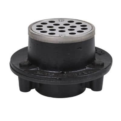 Round Black Cast Iron Floor Drain with 3-1/4 in. Round Stainless Steel Drain Cover