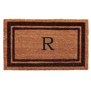 Brown Border Monogram Door Mat 24 in. x 36 in. (Letter R)
