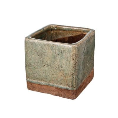 Small 6.3 in. Dia Slate Gray and Brown Square Shaped Ceramic Planter with Fine Texture