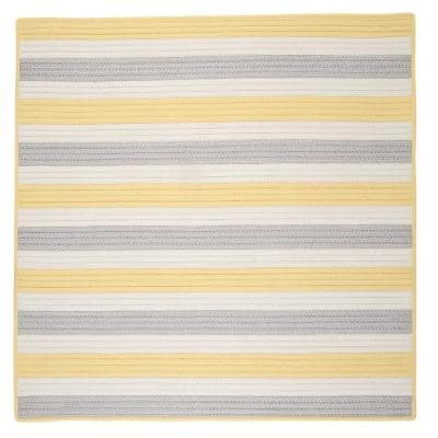 Baxter Yellow Shimmer 10 ft. x 10 ft. Square Braided Indoor/Outdoor Area Rug