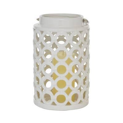 White Stoneware Contemporary Candle Lantern