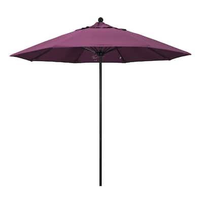 9 ft. Stone Black Aluminum Market Patio Umbrella with Manual Lift and Fiberglass Ribs in Iris Sunbrella