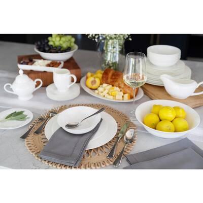 32-Piece Casual White Bone China Dinnerware Set