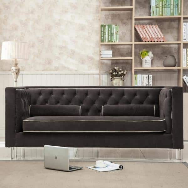 Ac Pacific Victoria 80 In Brown Velvet 2 Seater Chesterfield Sofa With Square Arms Victoria Loveseat The Home Depot