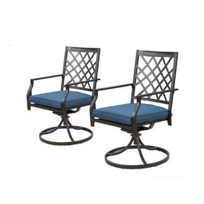 Swivel Metal Outdoor Dining Chair with Blue Cushions (2-Pack)