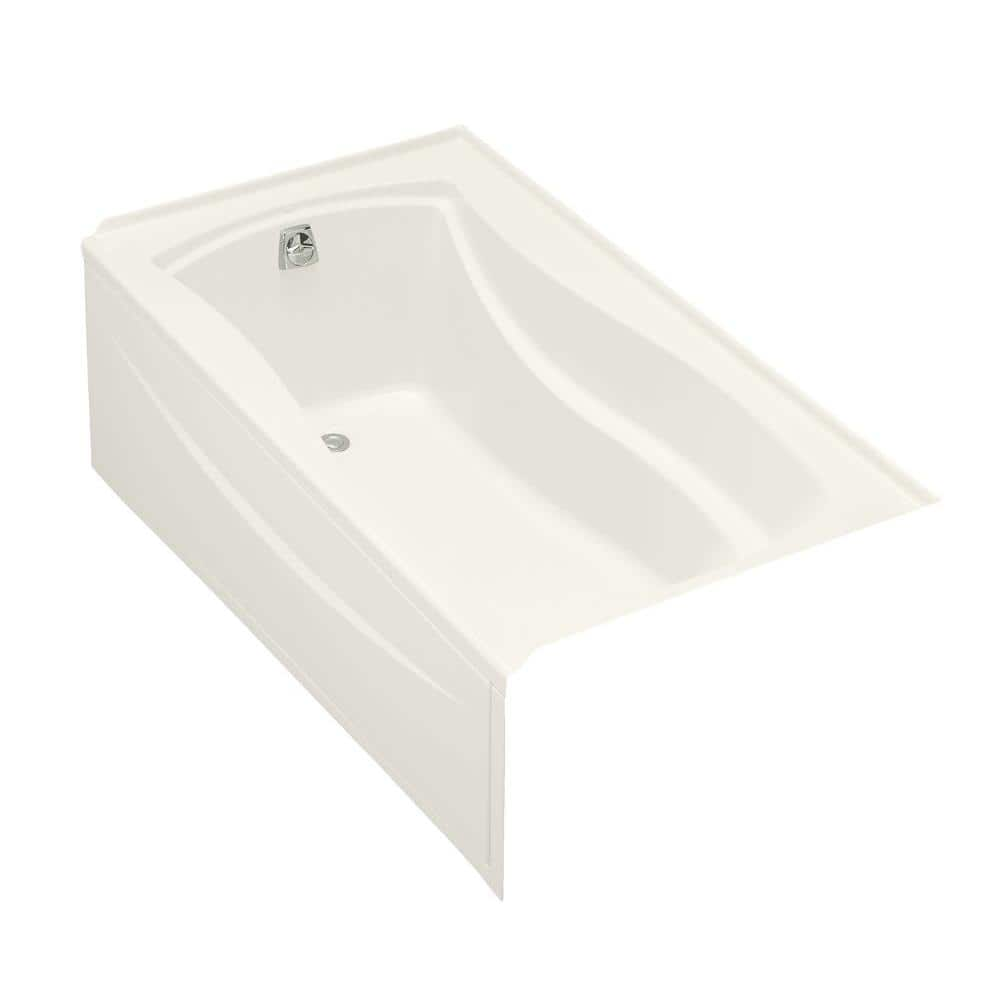 Kohler Mariposa 5 5 Ft Acrylic Left Hand Drain Integral Farmhouse Rectangular Alcove Bathtub In Biscuit K 1229 La 96 The Home Depot