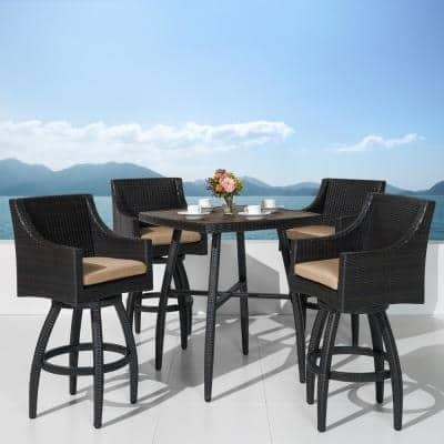 Deco 5-Piece Wicker Square Outdoor Bar Height Dining Set with Sunbrella Maxim Beige Cushions