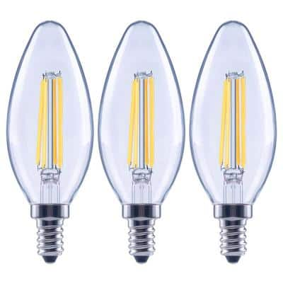 100-Watt Equivalent B13 Dimmable Blunt Tip Candle Clear Glass Edison Filament LED-Light Bulb Daylight (3-Pack)