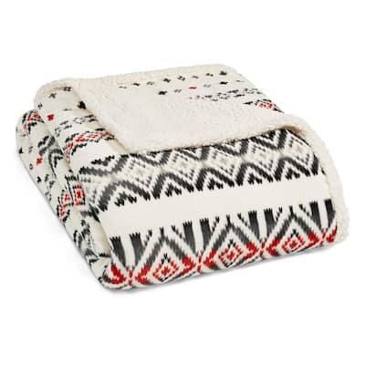 Mountain Village Ultra Soft Sherpa Microfiber White 1-Piece King Blanket