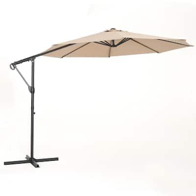11.5 ft. Steel can'tilever Tilt Patio Umbrella in Sand