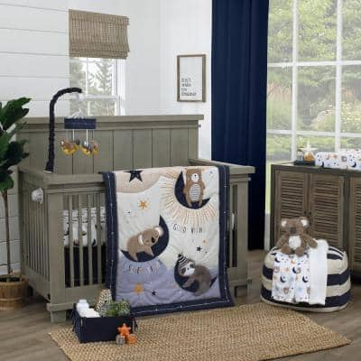 Goodnight Sleep Tight White and Blue 4-Piece Crib Bedding Set Comforter 100% Cotton Fitted Crib Sheet Skirt and Storage