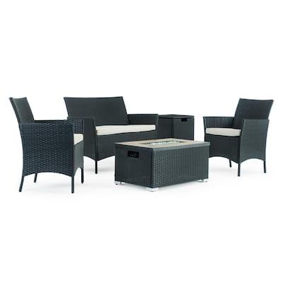 Kanab Black 4-Piece Wicker Patio Fire Pit Conversation Set with Beige Cushions