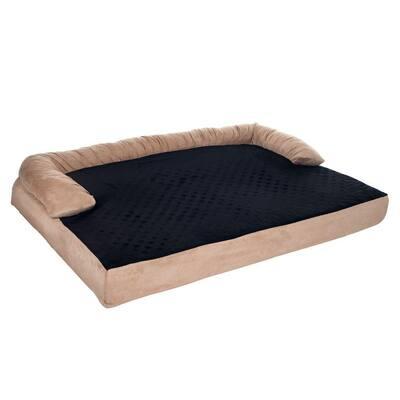 Large Tan Orthopedic Memory Foam Pet Bed with Bolster