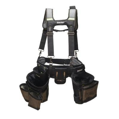 2 Bag Professional High Visibility Contractor's Suspension Rig Work Tool Belt with Suspenders
