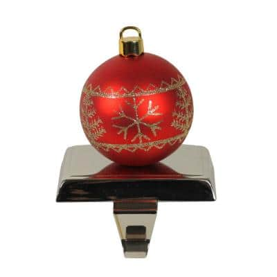 5.5 in. Red and Gold Christmas Ball Ornament Shaped Stocking Holder