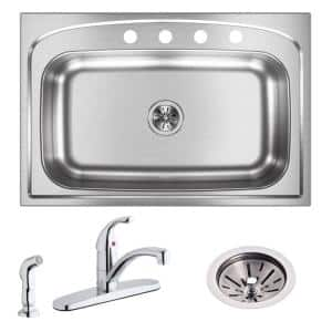 Pergola All-in-one Drop-In Stainless Steel 33 in. 4-Hole Single Bowl Kitchen Sink with Faucet and Drain