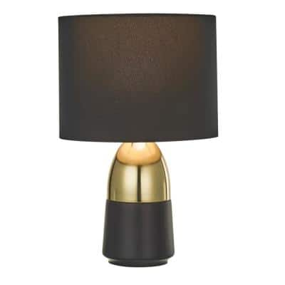 12.13 in. 2-Tone Accent Lamp with Black Shade and Corded ON/OFF Switch, Polished Gold and Matte Black Finish, (2-Pack)