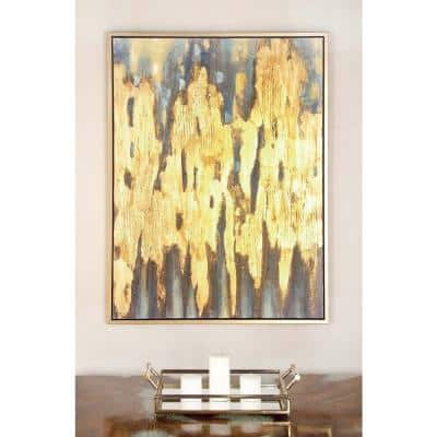 """47 in. x 36 in. """"Gold and Blue Color Field"""" Canvas Wall Art"""