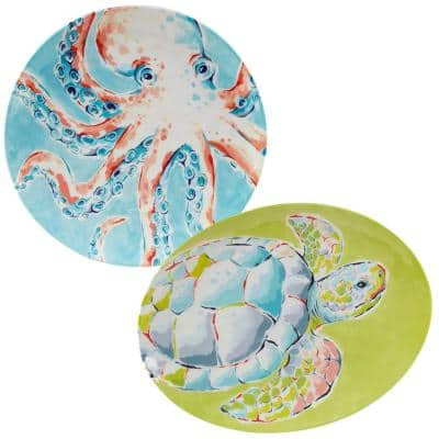 Deep Sea 2-Piece Multicolored Melamine 14 in. and 18 in. Platter Set