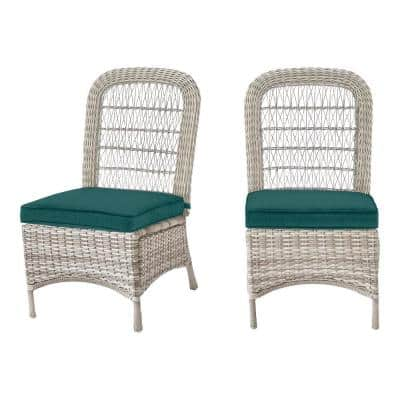 Beacon Park Gray Wicker Outdoor Patio Armless Dining Chair with CushionGuard Malachite Green Cushions (2-Pack)