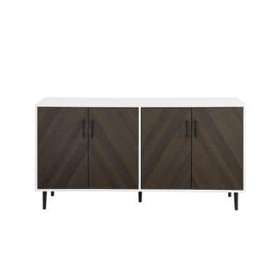 Ash Brown Bookmatch and Solid White Mid Century Wood and Metal 4-Door Sideboard