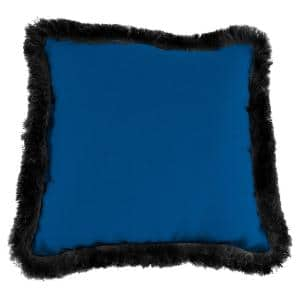 Sunbrella Canvas Navy Square Outdoor Throw Pillow with Black Fringe