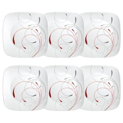 Splendor Vitrelle; Square Splendor Vitrelle 6-Piece Patterned White Glass Dinnerware Set (Service for 6)