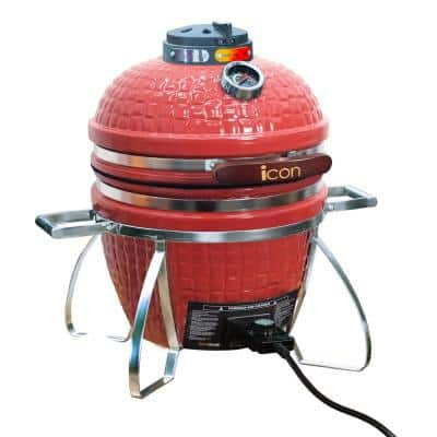 Vision Icon 101 Electric and Charcoal Kamado Grill in Red