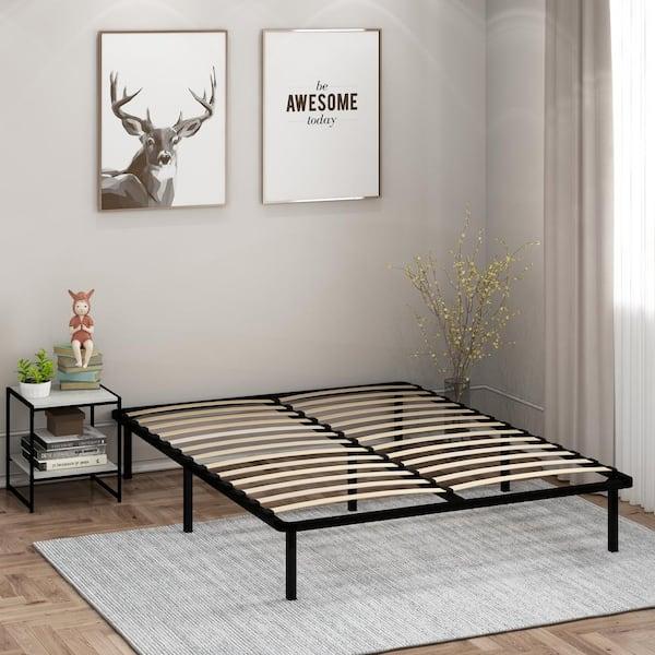 Furinno Cannet Queen Metal Platform Bed, Why Do Bed Frames Have Slats