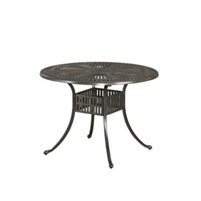 Grenada Taupe Tan 42 in. Round Cast Aluminum Outdoor Dining Table