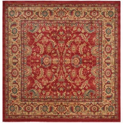 Mahal Red/Natural 7 ft. x 7 ft. Square Floral Antique Border Area Rug