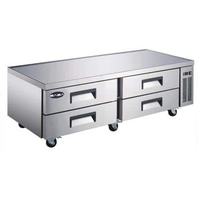 72.5 in. W 16 cu. ft. Commercial Chef Base Refrigerator Cooler in Stainless Steel