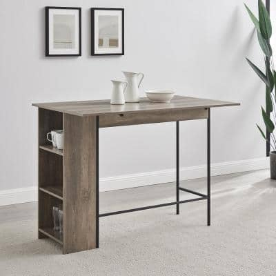 48 in. Grey Wash Counter Height Drop Leaf Table with Storage