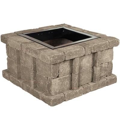RumbleStone 38.5 in. x 21 in. Square Concrete Fire Pit Kit No. 5 in Greystone