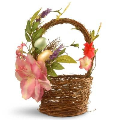 6.7 in. Decorated Basket with Tulips and Easter Eggs
