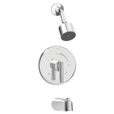 Dia 1-Handle 1-Spray Tub and Shower Faucet Trim in Polished Chrome - 1.5 GPM (Valve Not Included)