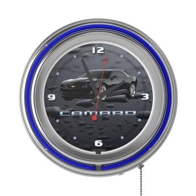 14 in. Black Camaro Neon Wall Clock