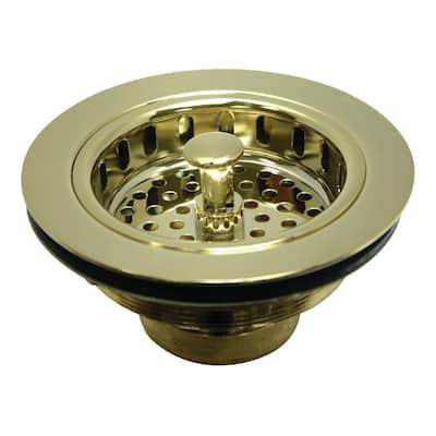 Heavy-Duty Kitchen Sink Waste Basket in Polished Brass