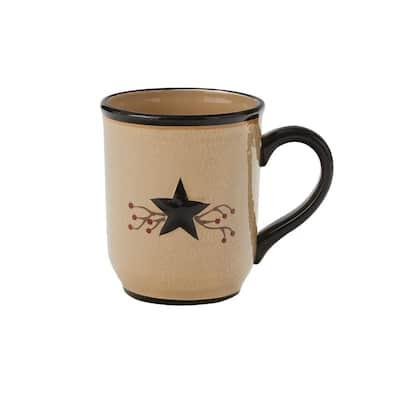 Star Vine 16 oz. Beige Ceramic Coffee Mug (Set of 4)