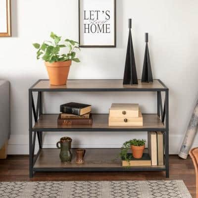 26 in. Driftwood/Black Metal 3-shelf Etagere Bookcase with Open Back