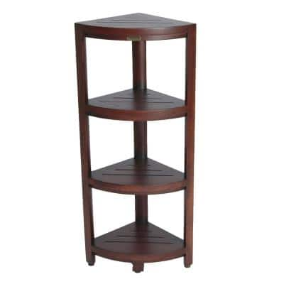 Oasis 12 in. 4-Tier Teak Corner Shelf