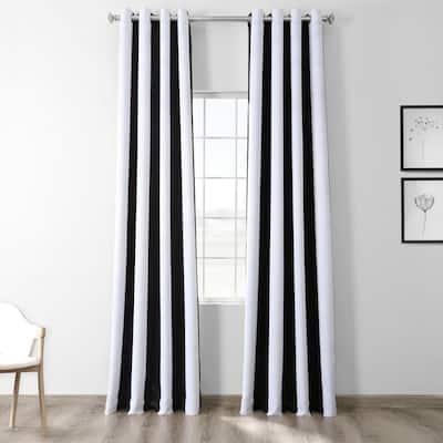 Awning Black & Fog White Striped Grommet Room Darkening Curtain - 50 in. W x 84 in. L