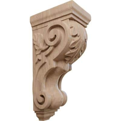 7 in. x 5 in. x 14 in. Unfinished Wood Mahogany Large Traditional Acanthus Corbel