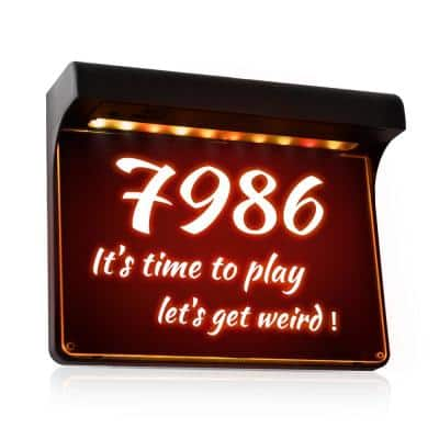 Solar Powered House Numbers Address Sign Dusk to Dawn Waterproof Outdoor Plaque Light with 2 Lighting Modes