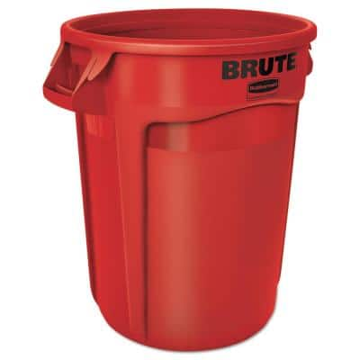 Brute 32 Gal. Red Plastic Round Trash Can